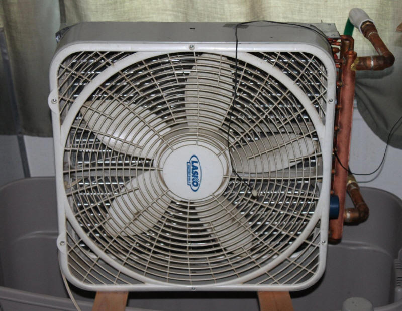 Home Cooling Fans : Home cooling using lawn irrigation water and a heat exchanger