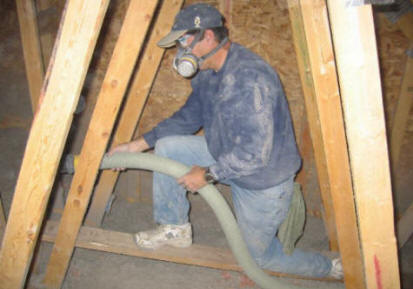 Blowing cellulose insulation in your attic as a DIY project
