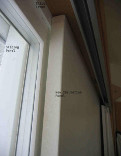 This shows how the insulation panel fits against the Vinyl frame of the sliding glass door. The sliding part of the door (left) slides behind the new ... & Insulating a Sliding Glass Door