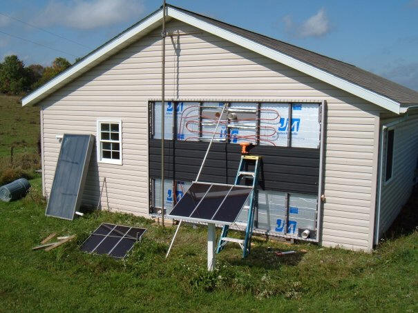 Diy solar air heating collector with water heating for Tin can solar heater