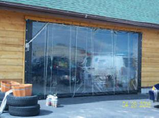 Solar Heated Shop Garage Using Vinyl Curtain