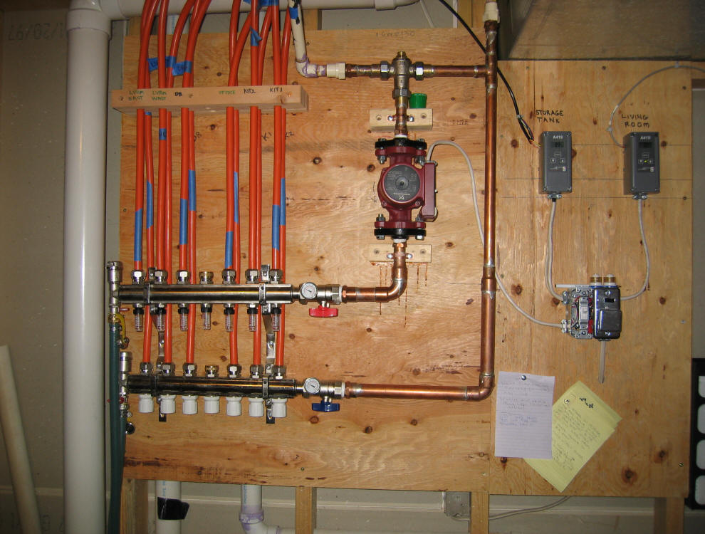 Solar house heating system control diagram for Pex hot water heating system