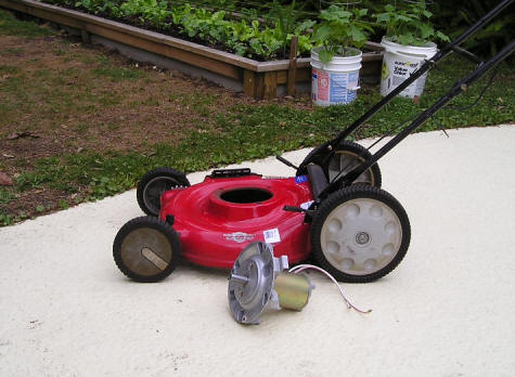 Solar charged electric lawn mower for Lawn mower electric motor