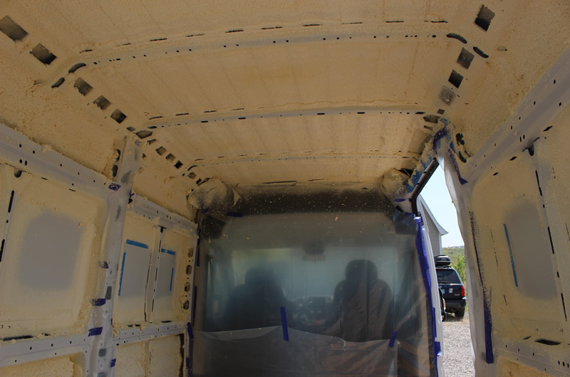 Did Not Get A Good Picture Of The Masking But This Shows Some It Masked Off Cab Area With Poly Cardboard And Newspaper On Floor Over