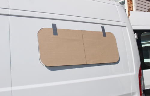 Align The Template On Van Wall And Tape It In Place