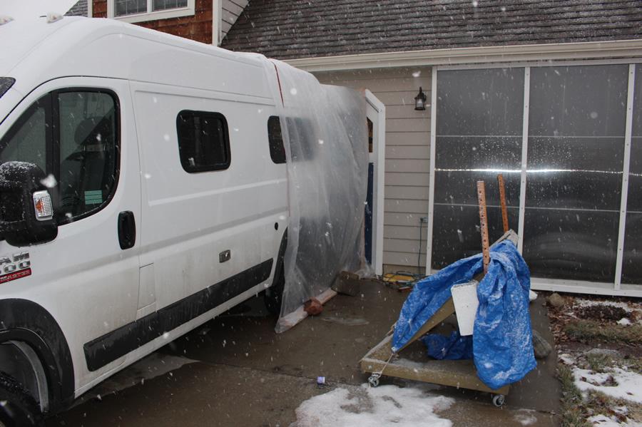 Sheltered Workspace Camper Van Conversion
